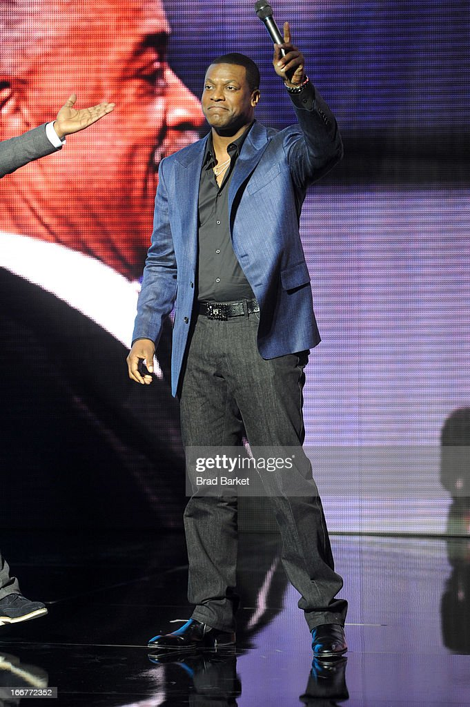 Actor <a gi-track='captionPersonalityLinkClicked' href=/galleries/search?phrase=Chris+Tucker&family=editorial&specificpeople=203254 ng-click='$event.stopPropagation()'>Chris Tucker</a> speaks onstage at the BET Networks 2013 New York Upfront on April 16, 2013 in New York City.