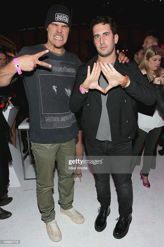 Actor <a gi-track='captionPersonalityLinkClicked' href=/galleries/search?phrase=Chris+Zylka&family=editorial&specificpeople=5863770 ng-click='$event.stopPropagation()'>Chris Zylka</a> (L) and Izak Rappaport attend NYLON + McDonald's Dec/Jan issue launch party, hosted by cover star Demi Lovato on December 5, 2013 in West Hollywood, California.