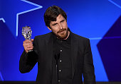 Actor Christian Bale accepts Best Actor in a Comedy award for 'The Big Short' onstage during the 21st Annual Critics' Choice Awards at Barker Hangar...