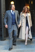 Actor Christian Bale and Amy Adams as seen on May 17 2013 on the set of 'American Hussle' in New York City