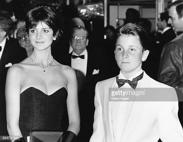 Actor Christian Bale and his sister attending the premiere of his new film 'Empire of the Sun' London March 22nd 1988