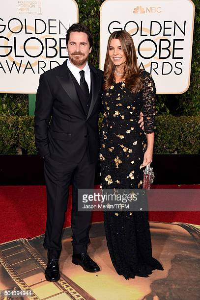 Actor Christian Bale and Sibi Blazic attend the 73rd Annual Golden Globe Awards held at the Beverly Hilton Hotel on January 10 2016 in Beverly Hills...
