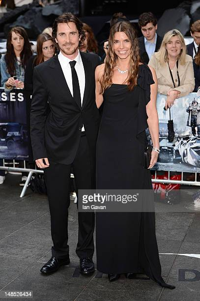 Actor Christian Bale and wife Sandra Bale attend European premiere of 'The Dark Knight Rises' at Odeon Leicester Square on July 18 2012 in London...