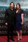 Actor Christian Bale and wife Sibi Blazic attend the 'Exodus Gods and Kings' at the Kinepolis cinema on December 4 2014 in Madrid Spain