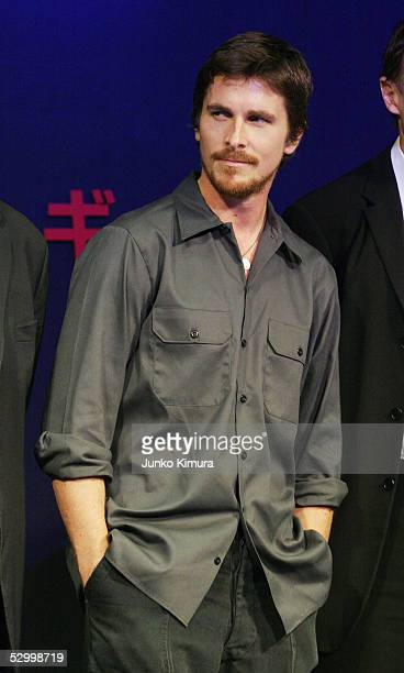 Actor Christian Bale attends a press conference to promote 'Batman Begins' on May 30 2005 in Tokyo Japan The film will open on June 18 in US and Japan
