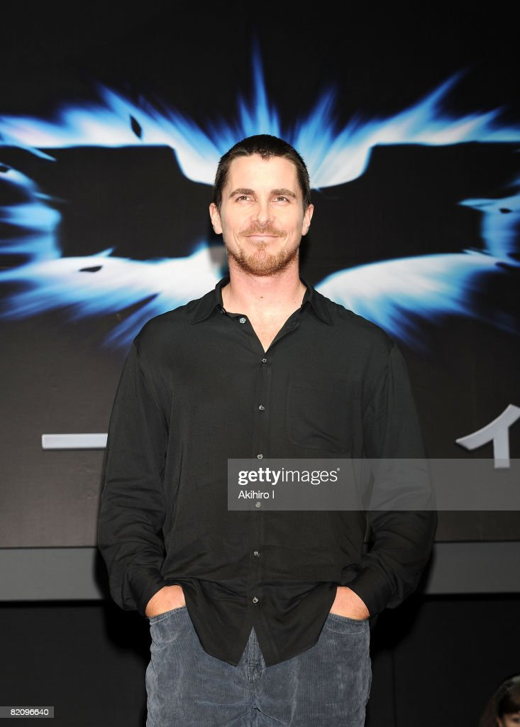 Actor Christian Bale attends 'The Dark Knight' Press Conference at Grand Hyatt Tokyo on July 29 2008 in Tokyo Japan The film will open on August 9 in...