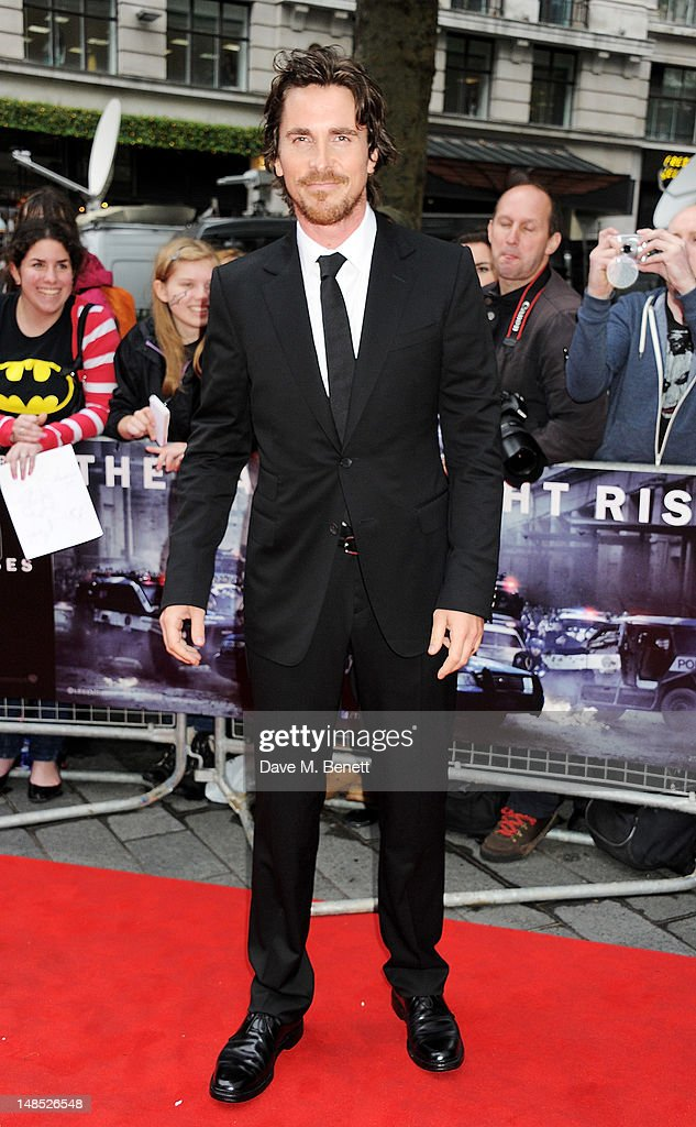 Actor Christian Bale attends the European Premiere of 'The Dark Knight Rises' at Odeon Leicester Square on July 18 2012 in London England
