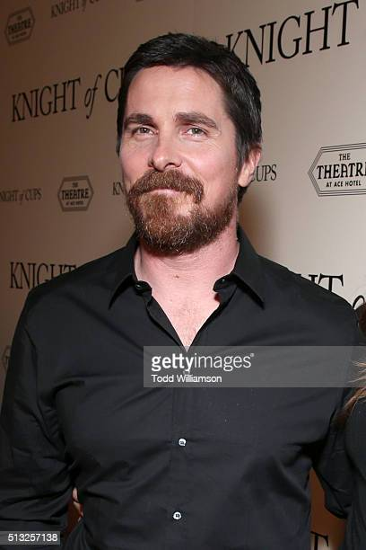 Actor Christian Bale attends the premiere of Broad Green Pictures' 'Knight Of Cups' on March 1 2016 in Los Angeles California