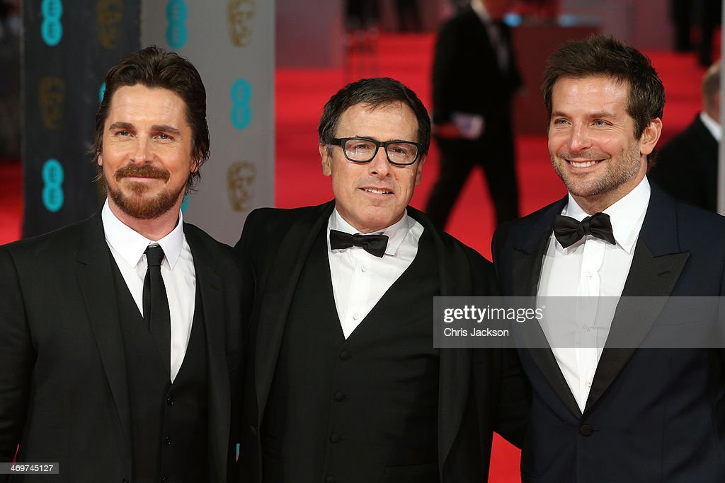 Actor <a gi-track='captionPersonalityLinkClicked' href=/galleries/search?phrase=Christian+Bale&family=editorial&specificpeople=239518 ng-click='$event.stopPropagation()'>Christian Bale</a>, director <a gi-track='captionPersonalityLinkClicked' href=/galleries/search?phrase=David+O.+Russell&family=editorial&specificpeople=215306 ng-click='$event.stopPropagation()'>David O. Russell</a> and actor <a gi-track='captionPersonalityLinkClicked' href=/galleries/search?phrase=Bradley+Cooper&family=editorial&specificpeople=680224 ng-click='$event.stopPropagation()'>Bradley Cooper</a> attend the EE British Academy Film Awards 2014 at The Royal Opera House on February 16, 2014 in London, England.