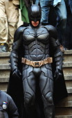 Actor Christian Bale is seen in costume as Batman on the set of 'The Dark Knight Rises' on location on Wall Street on November 5 2011 in New York City