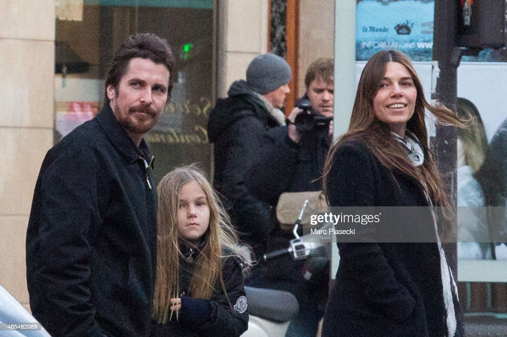 Actor Christian Bale is seen with his daughter Emmeline Bale and wife Sibi Blazic in the 'SaintGermaindesPres' quarter on January 27 2014 in Paris...