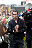 Actor Christian Bale performs during filming of his new movie directed by Terrence Malick during the Austin City Limits Music Festival at Zilker Park...