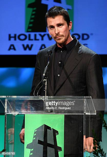 Actor Christian Bale presents onstage during the Hollywood Film Festival's Gala Ceremony held at Beverly Hilton Hotel on October 27 2008 in Beverly...
