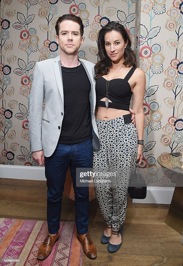 Actor Christian Campbell and wife, actress America Olivo attend the after party for the New York premiere of 'A Tale Of Love & Darkness' at Crosby Street Hotel on August 15, 2016 in New York City.
