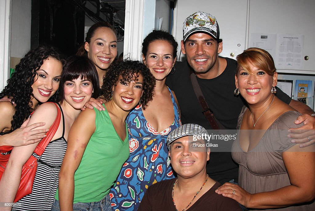 Actor Christian de la Fuente (6L) and cast pose backstage at the Tony winning Best Musical 'In The Heights' on Broadway at the Richard Rogers Theatre on July 25, 2008 in New York City.