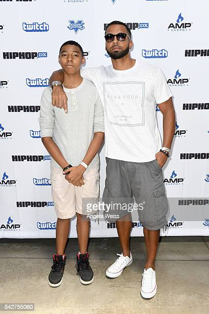 Actor Christian Keyes and Christian Keyes Jr attend Next Level Presented By AMP Energy A Hip Hop Gaming Tournament at Rostrum Records on June 23 2016...
