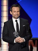 Actor Christian Slater accepts the Supporting Actor In A Drama Series award for 'Mr Robot' onstage during the 21st Annual Critics' Choice Awards at...