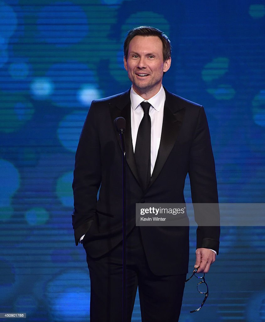 Actor <a gi-track='captionPersonalityLinkClicked' href=/galleries/search?phrase=Christian+Slater&family=editorial&specificpeople=201651 ng-click='$event.stopPropagation()'>Christian Slater</a> speaks onstage during the 4th Annual Critics' Choice Television Awards at The Beverly Hilton Hotel on June 19, 2014 in Beverly Hills, California.