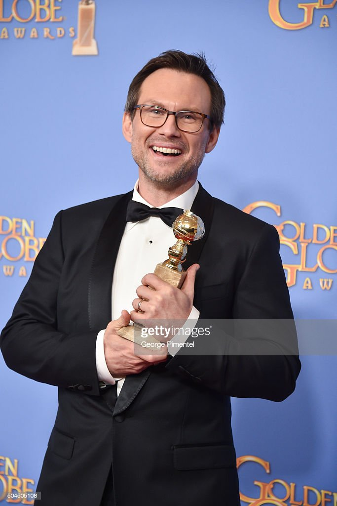 Actor Christian Slater, winner of the award for Best Performance by an Actor in a Supporting Role in a Series, Limited Series or Motion Picture Made for Television for 'Mr. Robot,' poses in the press room during the 73rd Annual Golden Globe Awards held at the Beverly Hilton Hotel on January 10, 2016 in Beverly Hills, California.