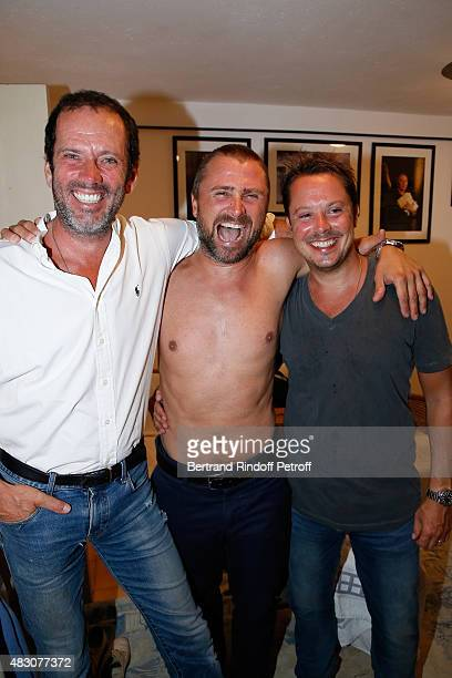 Actor Christian Vadim Actors of the Piece Alexandre Brasseur and Davy Sardou pose Backstage after the 'Georges and Georges' Theater play during the...