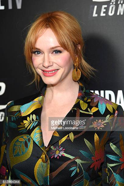Actor Christina Hendricks attends SundanceTV's 'Hap and Leonard' Premiere Party at Hill Country Barbecue Market on February 25 2016 in New York City