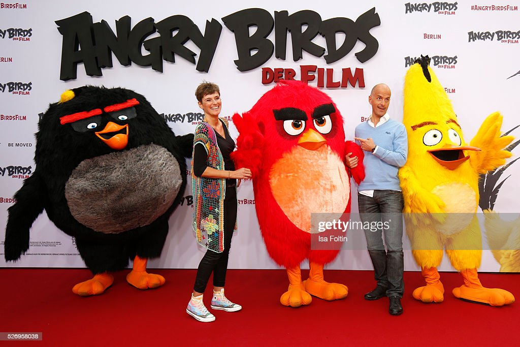 Actor Christoph Maria Herbst and his wife Gisi herbst attend the Berlin premiere of the film 'Angry Birds - Der Film' at CineStar on May 1, 2016 in Berlin, Germany.