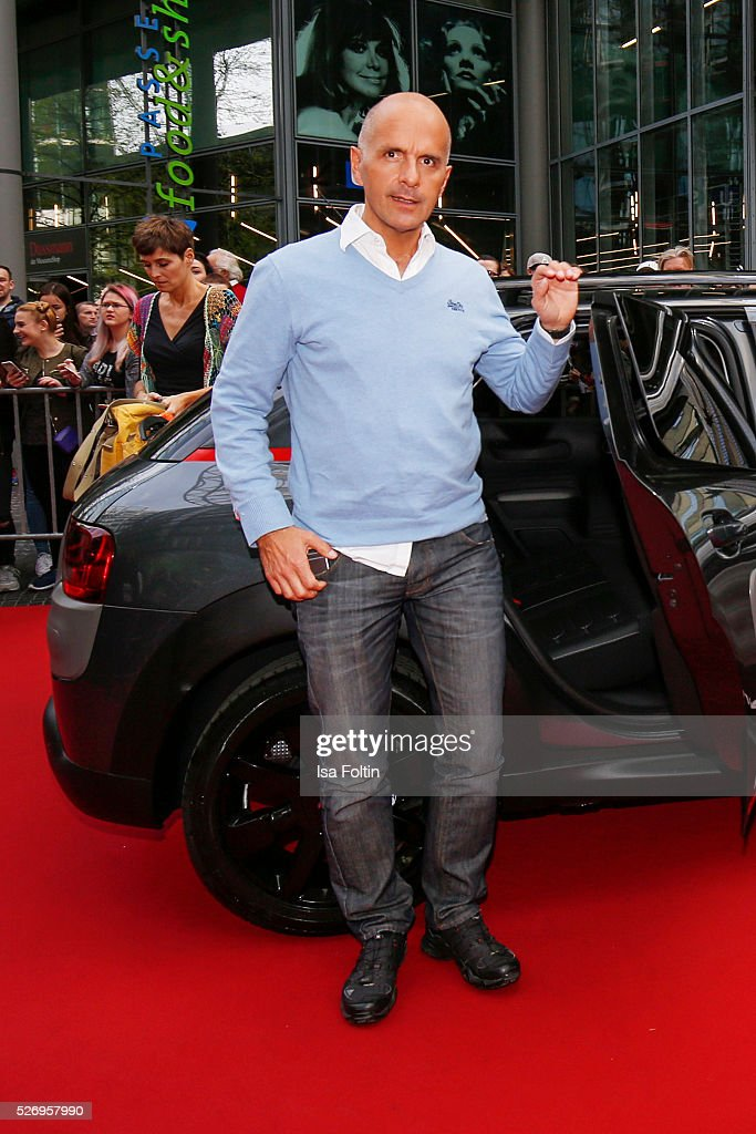 Actor Christoph Maria Herbst arrives at the red carpet at the Berlin premiere of the film 'Angry Birds - Der Film' at CineStar on May 1, 2016 in Berlin, Germany.