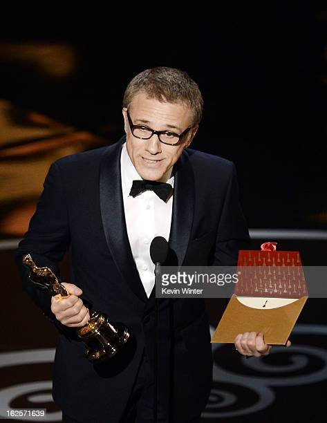 Actor Christoph Waltz accepts the Best Supporting Actor award for 'Django Unchained' onstage during the Oscars held at the Dolby Theatre on February...