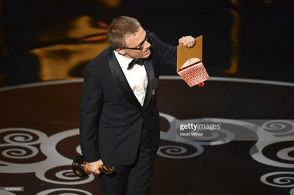 Actor Christoph Waltz accepts the Best Supporting Actor award for 'Django Unchained' onstage during the Oscars held at the Dolby Theatre on February 24, 2013 in Hollywood, California.