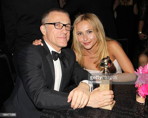 Actor Christoph Waltz and actress Hayden Panettiere attends HBO's Official Golden Globe Awards After Party held at Circa 55 Restaurant at The Beverly...