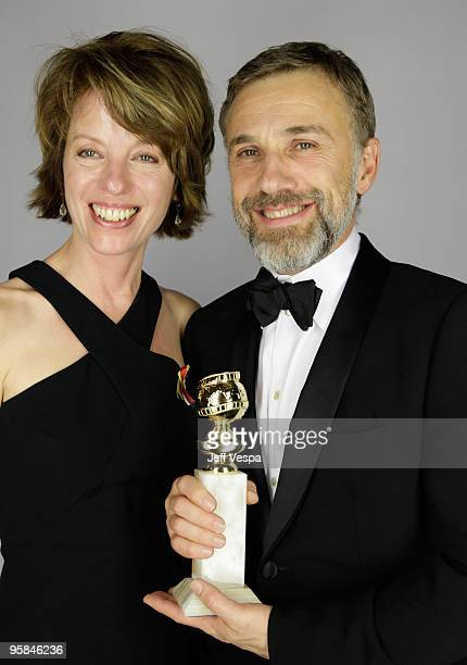 Actor Christoph Waltz and guest pose for a portrait backstage during the 67th Annual Golden Globe Awards at The Beverly Hilton Hotel on January 17...