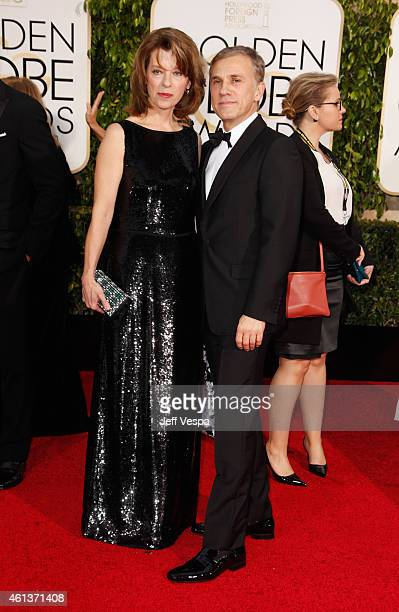 Actor Christoph Waltz and Judith Holste attend the 72nd Annual Golden Globe Awards at The Beverly Hilton Hotel on January 11 2015 in Beverly Hills...