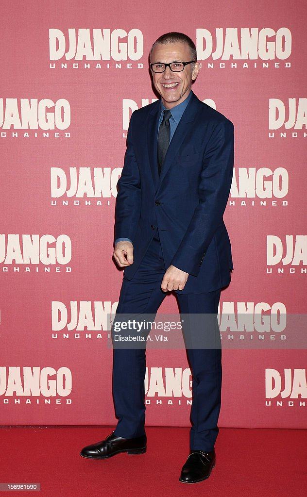Actor Christoph Waltz attends 'Django Unchained' premiere at Cinema Adriano on January 4, 2013 in Rome, Italy.