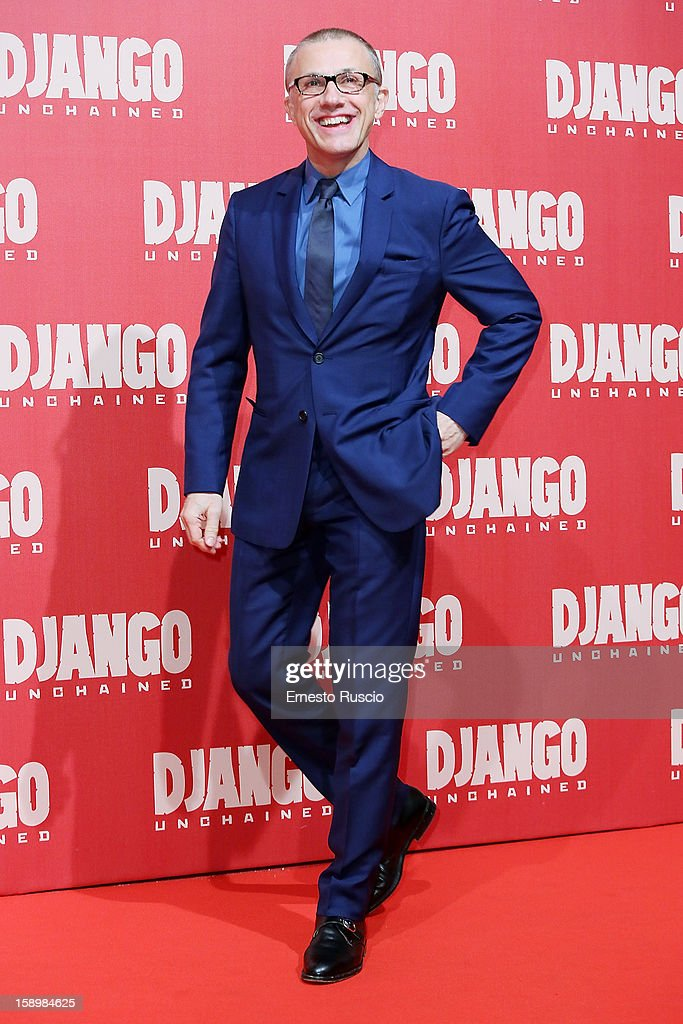 Actor Christoph Waltz attends the 'Django Unchained' premiere at Cinema Adriano on January 4, 2013 in Rome, Italy.