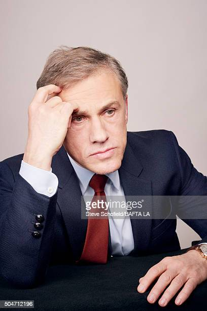 Actor Christoph Waltz poses for a portrait at the BAFTA Los Angeles Awards Season Tea at the Four Seasons Hotel on January 9 2016 in Los Angeles...