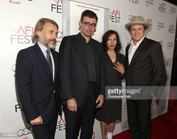 Actor Christoph Waltz producer Said Ben Said writer Yasmina Reza and actor John C Reilly arrive at the 'Carnage' special screening during AFI FEST...