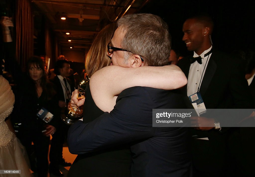Actor Christoph Waltz, winner of the award for Performance by an Actor in a Supporting Role, backstage during the Oscars held at the Dolby Theatre on February 24, 2013 in Hollywood, California.