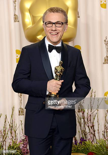 Actor Christoph Waltz winner of the Best Supporting Actor award for 'Django Unchained' poses in the press room during the Oscars held at Loews...