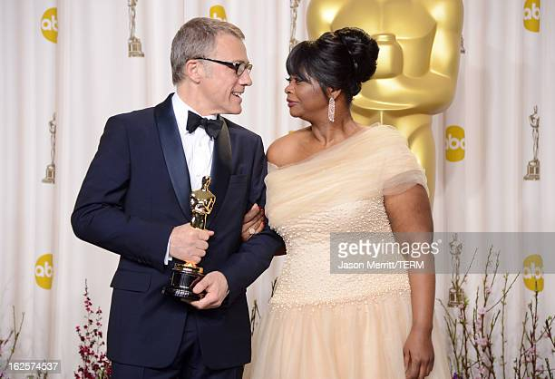 Actor Christoph Waltz winner of the Best Supporting Actor award for 'Django Unchained' and presenter Octavia Spencer pose in the press room during...