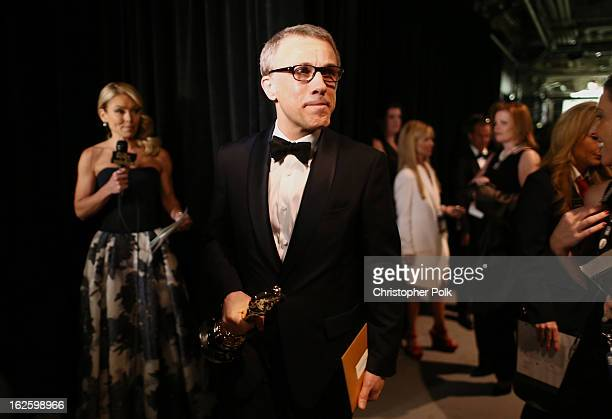 Actor Christoph Waltz winner of the Best Supporting Actor award for 'Django Unchained' backstage during the Oscars held at the Dolby Theatre on...