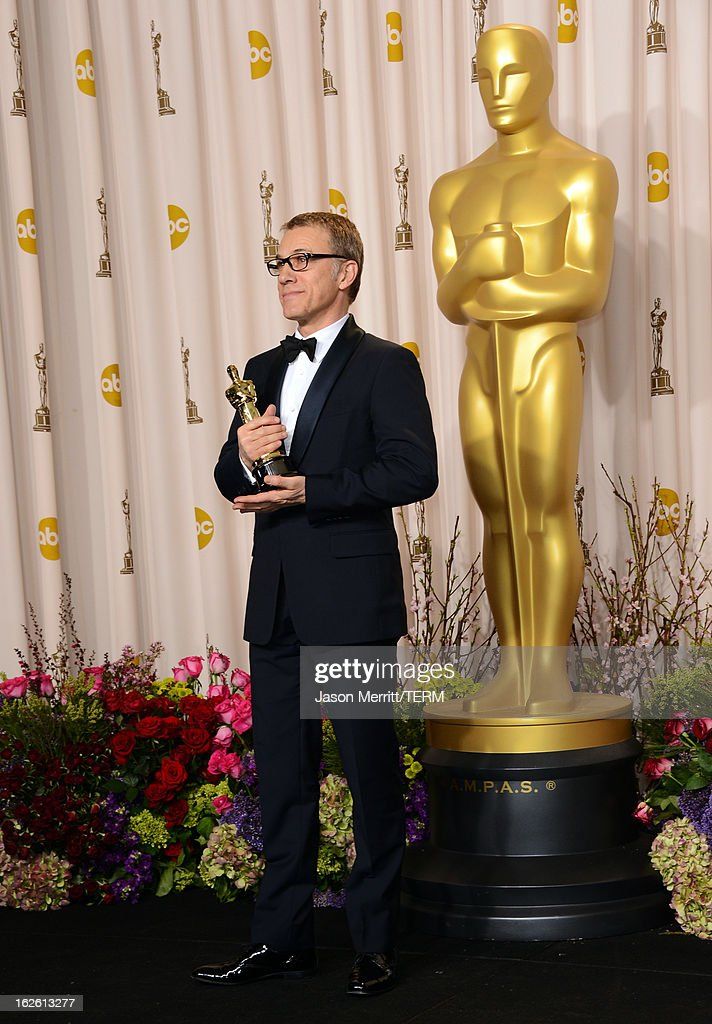Actor Christoph Waltz, winner of the Best Supporting Actor award for 'Django Unchained,' poses in the press room during the Oscars held at Loews Hollywood Hotel on February 24, 2013 in Hollywood, California.
