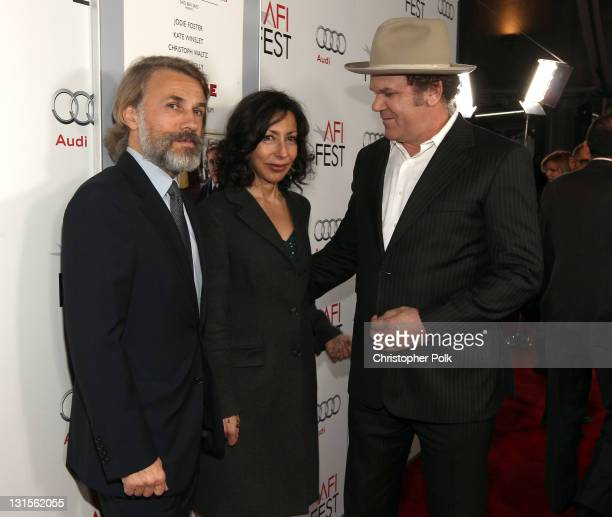 Actor Christoph Waltz writer Yasmina Reza and actor John C Reilly arrive at the 'Carnage' special screening during AFI FEST 2011 presented by Audi at...
