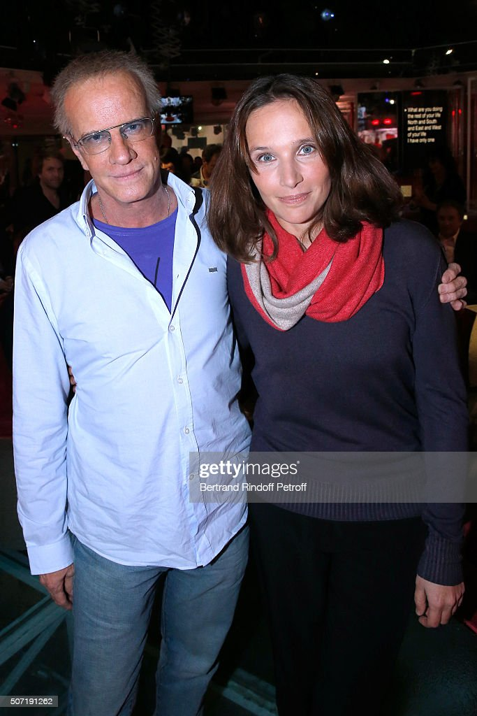 Actor Christophe Lambert and Pianist Helene Grimaud attend the 'Vivement Dimanche' French TV Show at Pavillon Gabriel on January 27, 2016 in Paris, France.