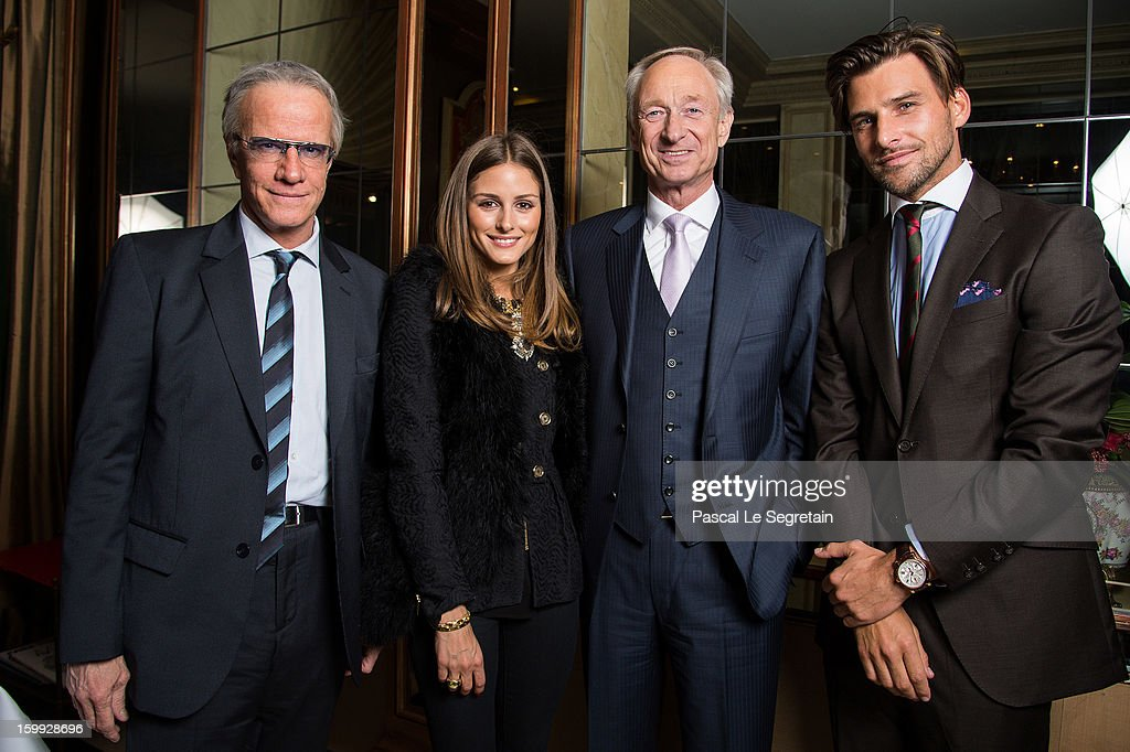 Actor Christophe Lambert (wearing Montblanc TimeWalker Northern Hemisphere watch), Montblanc friend of the brand <a gi-track='captionPersonalityLinkClicked' href=/galleries/search?phrase=Olivia+Palermo&family=editorial&specificpeople=2639086 ng-click='$event.stopPropagation()'>Olivia Palermo</a> (wearing Montblanc Star Classique Automatic watch), <a gi-track='captionPersonalityLinkClicked' href=/galleries/search?phrase=Lutz+Bethge&family=editorial&specificpeople=702473 ng-click='$event.stopPropagation()'>Lutz Bethge</a>, CEO Montblanc International and <a gi-track='captionPersonalityLinkClicked' href=/galleries/search?phrase=Johannes+Huebl&family=editorial&specificpeople=5696811 ng-click='$event.stopPropagation()'>Johannes Huebl</a> (wearing Montblanc Star 4810 Chronograph) attend the Montblanc VIP dinner at SIHH 2013 on January 22, 2013 in Geneva, Switzerland.