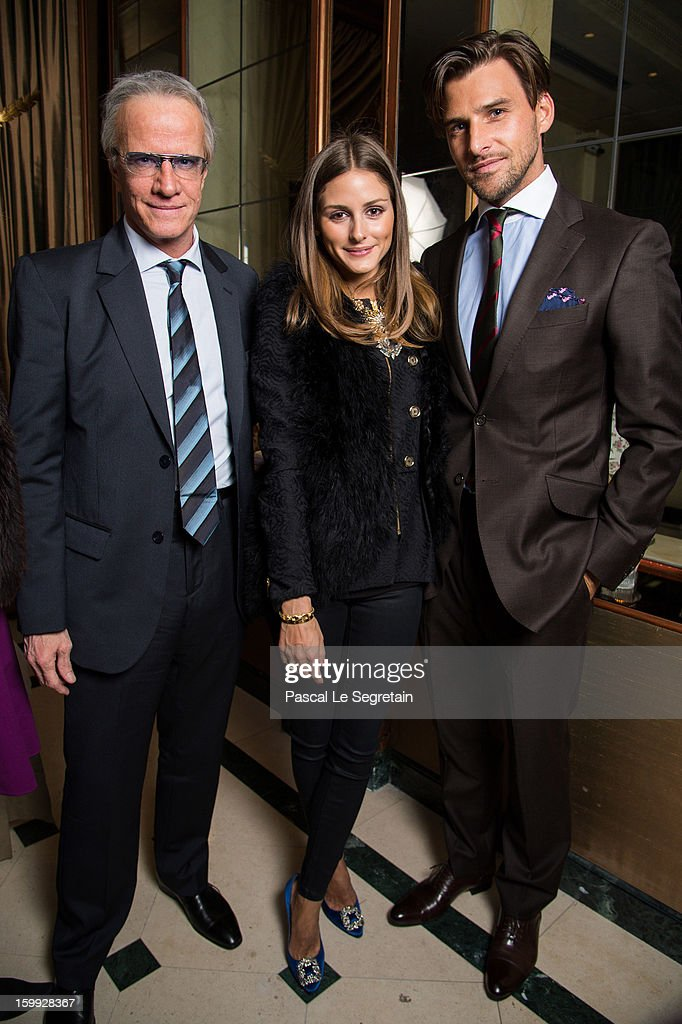 Actor Christophe Lambert (wearing Montblanc TimeWalker Northern Hemisphere watch), Montblanc friends of the brand <a gi-track='captionPersonalityLinkClicked' href=/galleries/search?phrase=Olivia+Palermo&family=editorial&specificpeople=2639086 ng-click='$event.stopPropagation()'>Olivia Palermo</a> (wearing Montblanc Star Classique Automatic watch) and <a gi-track='captionPersonalityLinkClicked' href=/galleries/search?phrase=Johannes+Huebl&family=editorial&specificpeople=5696811 ng-click='$event.stopPropagation()'>Johannes Huebl</a> (wearing Montblanc Star 4810 Chronograph) attend the Montblanc VIP dinner at SIHH 2013 on January 22, 2013 in Geneva, Switzerland.
