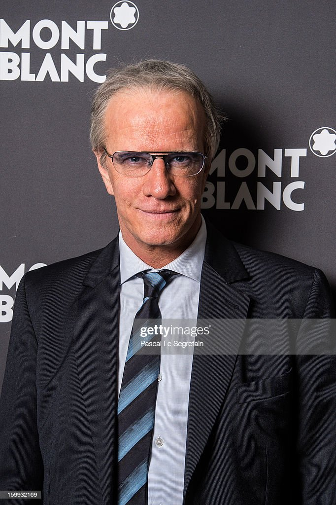 Actor Christophe Lambert wearing the Montblanc TimeWalker World-Time Hemispheres (Northern Hemisphere) attends the Montblanc VIP dinner at SIHH 2013 on January 22, 2013 in Geneva, Switzerland.