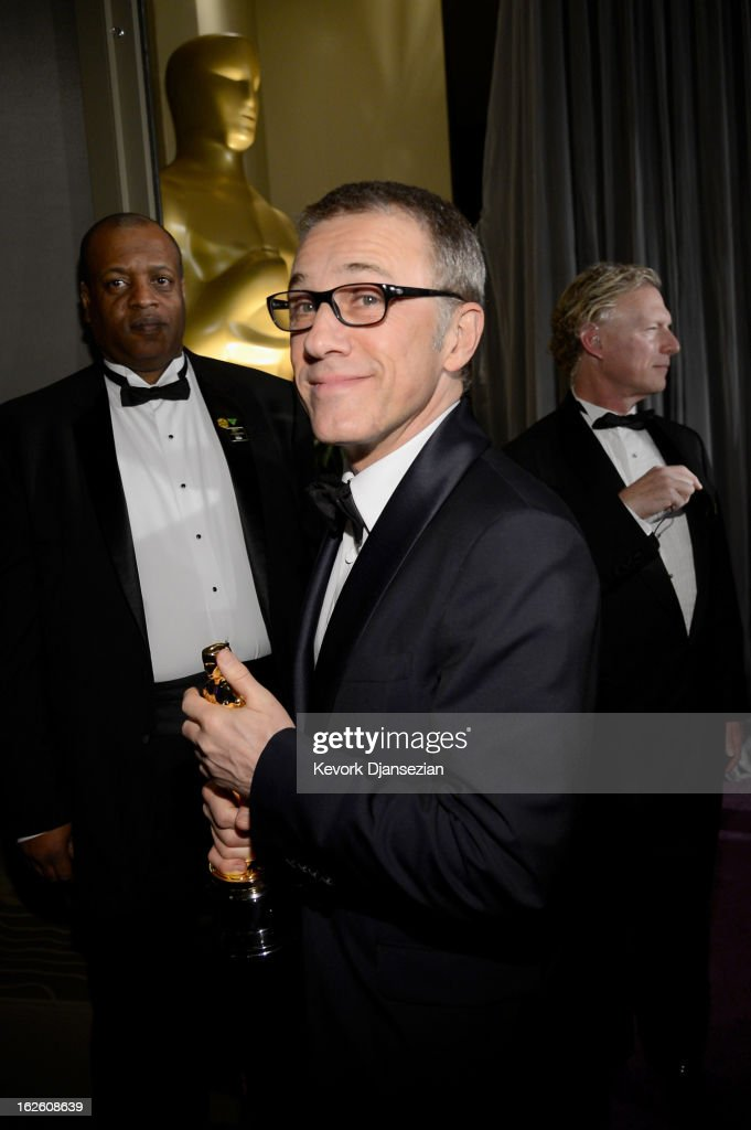 Actor Christophe Waltz holds his trophy for Best Supporting Actor for 'Django Unchained ' as he attends the Oscars Governors Ball at Hollywood & Highland Center on February 24, 2013 in Hollywood, California.