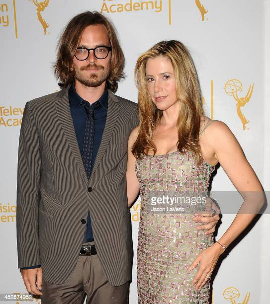 Actor Christopher Backus and actress Mira Sorvino attend the Television Academy's performers peer group celebrating the 66th Emmy Awards at Montage...