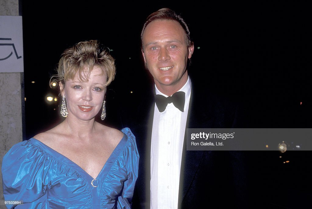 Actor Christopher Cazenove and wife <a gi-track='captionPersonalityLinkClicked' href=/galleries/search?phrase=Angharad+Rees&family=editorial&specificpeople=925630 ng-click='$event.stopPropagation()'>Angharad Rees</a> attend the 37th Annual American Cinema Editors (ACE) Eddie Awards on March 28, 1987 at Beverly Hilton Hotel in Beverly Hills, California.