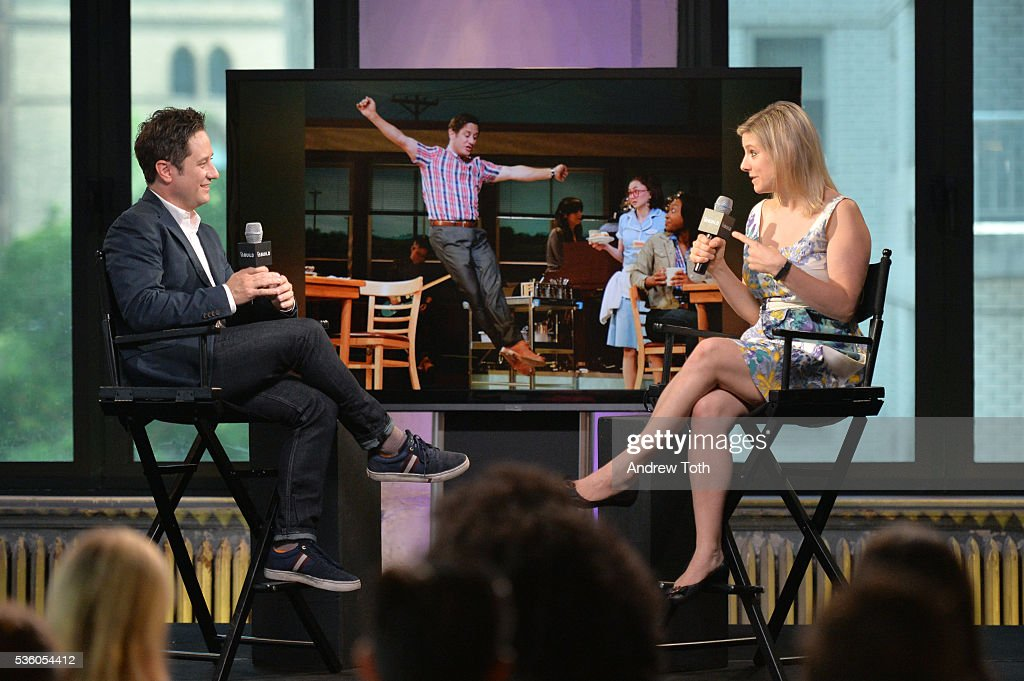 Actor <a gi-track='captionPersonalityLinkClicked' href=/galleries/search?phrase=Christopher+Fitzgerald&family=editorial&specificpeople=4069728 ng-click='$event.stopPropagation()'>Christopher Fitzgerald</a> and Laura Heywood speak during the AOL Build Speaker Series <a gi-track='captionPersonalityLinkClicked' href=/galleries/search?phrase=Christopher+Fitzgerald&family=editorial&specificpeople=4069728 ng-click='$event.stopPropagation()'>Christopher Fitzgerald</a> 'Waitress' at AOL Studios In New York on May 31, 2016 in New York City.
